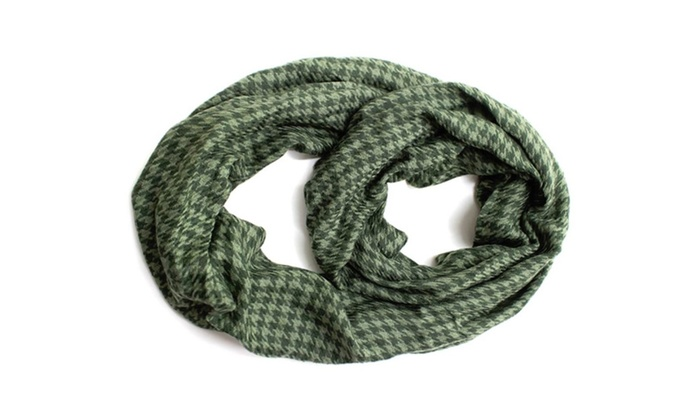 Plaid Tartan Houndstooth Infinity Scarf – Green