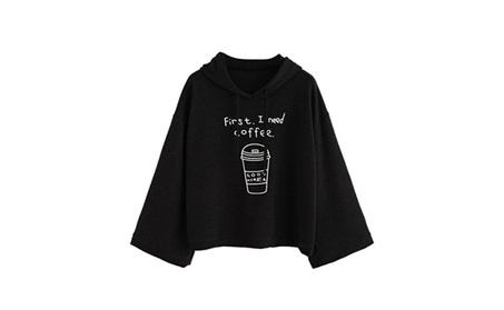 Canserin Womens Fashion Long Sleeve Letters Print Hooded Sweatshirt e76236d1-5494-4950-8e36-70e414558042