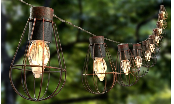 Rustic Cage Lantern Solar String Lights With 10 Warm White