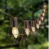 Rustic Cage Lantern Solar String Lights with 10 Warm White Bulbs