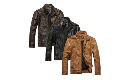 Men's Leather Zipper Active Jacket Multi Color Winter Sport Outwear f5b81b01-9e26-4080-89e6-e2fecb8e822b