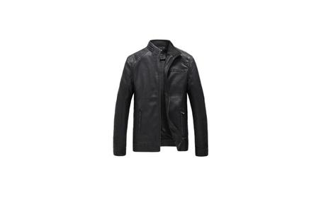 Men's PU Leather Jacket Vintage Stand Collar Motorcycle Coat e7125cec-ce11-4fc0-9cd6-df4438807ecd