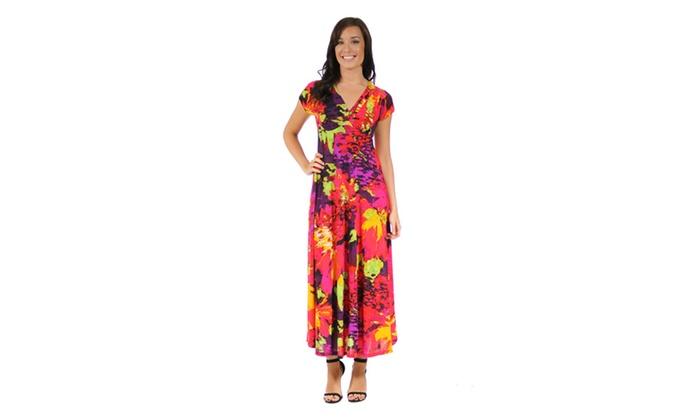 24/7 Comfort Apparel Women's Vibrant Floral Wrap Dress
