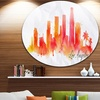 Los Angeles Silhouette' Disc Cityscape Painting Circle Metal Wall Art