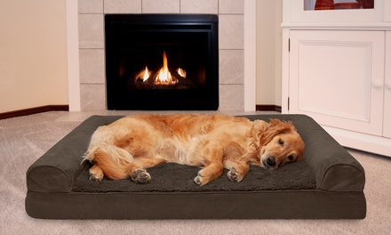 Plush & Suede Cooling Gel Memory Foam Sofa Dog Bed Pet Bed Cat Bed