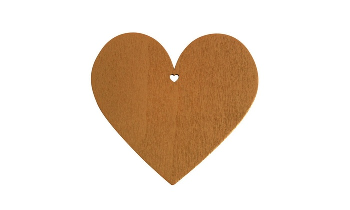Whats New: 50 Coffee Brown Wooden Heart Shape Craft Tags Plaques