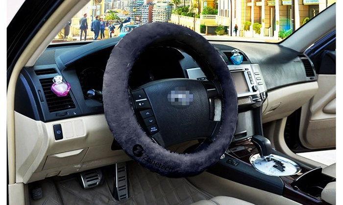 up to 71% off on zone tech gray white black be groupon goodszone tech gray white black beige plush stretch steering wheel cover