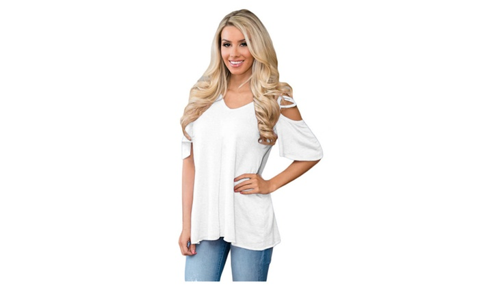 Women's White Cold Shoulder Crisscross Detail Relaxing Fit Top