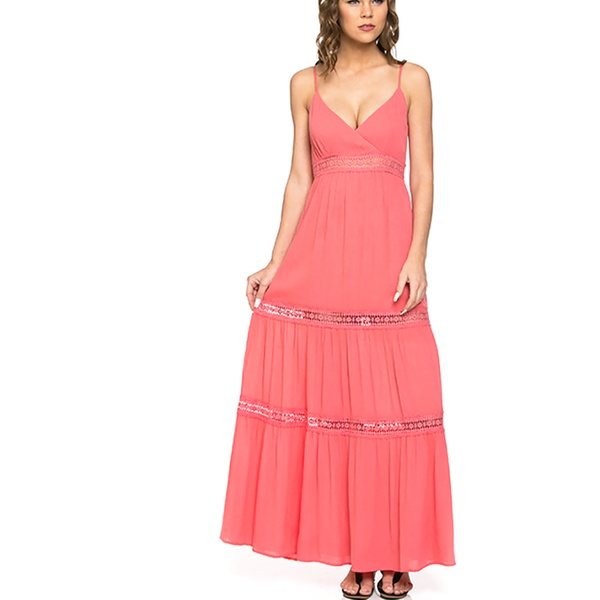 c5e57e180a Womens Crochet Full Length Coral Open Back Casual Maxi Dress | Groupon