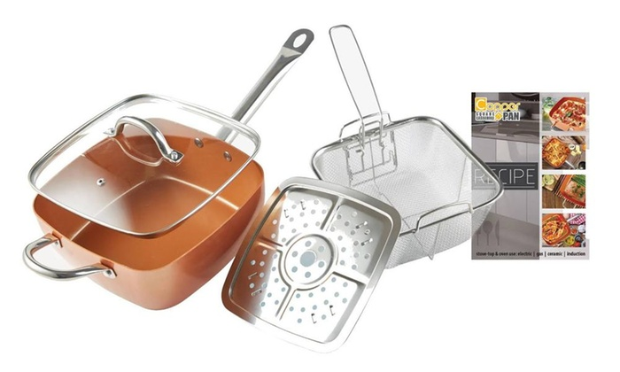 9 5 Quot Square Copper Cooking Pan Set 5 Piece Groupon