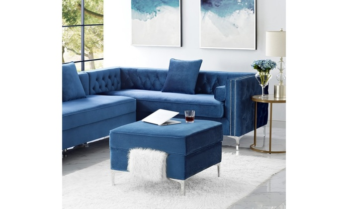 Astonishing Dante Velvet Square Contemporary Storage Ottoman Groupon Ocoug Best Dining Table And Chair Ideas Images Ocougorg