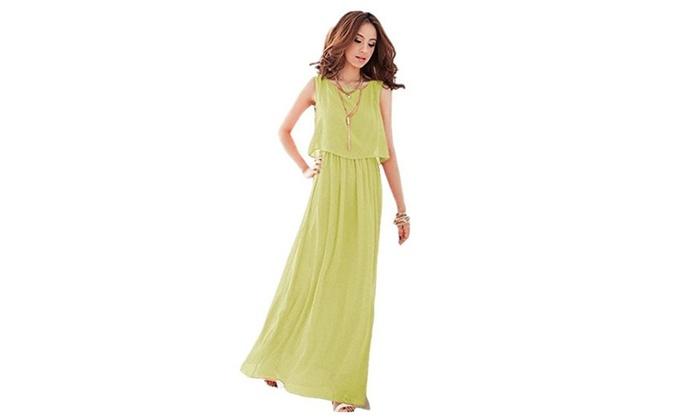 Bingirl Chiffon Summer Beach Strap Maxi Dress