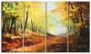 Autumn Forest Pathway Landscape Metal Wall Art 48x28 4 Panels