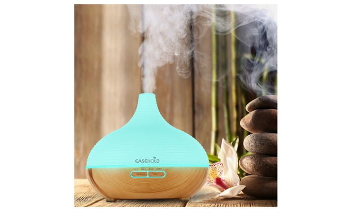 Easehold Air Oil Humidifier Purifiers 300ml Wood Grain Base LED Light