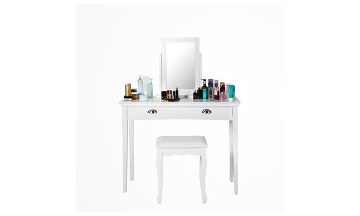 . Wooden Vanity Dressing Table Set Makeup Table  1 Stool   2 Drawers