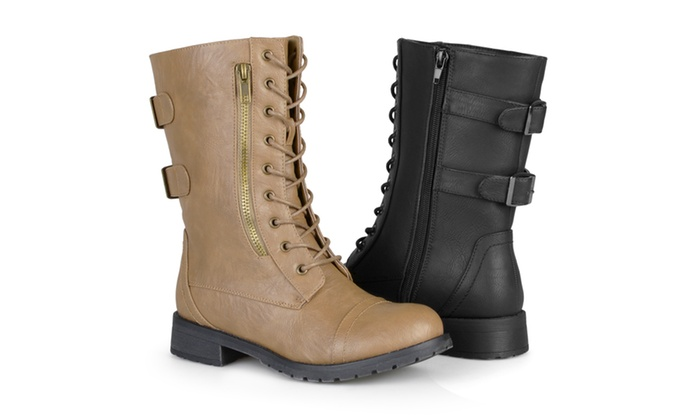 3a6dc8596a9 Journee Collection Womens Lace-up Buckle Combat Boots