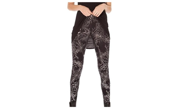 Vska Women's Spider Web Printed Stylish Ankle Print Leggings - As Picture / One Size