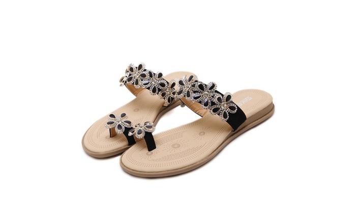 Women's Bohemian Rhinestone Flat Sandals