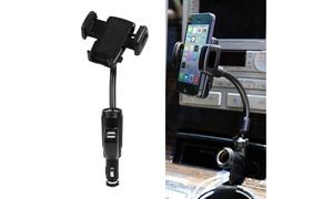 iMounTEK Dual USB Car Charger Phone Mount with Cigarette Lighter Socket