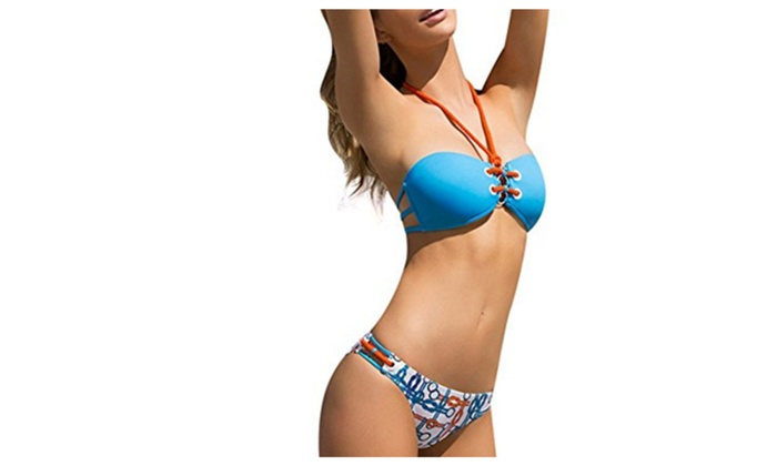 Womens Halter Lace Up Bikini Bandage Sennit Two Piece Bathing Suit