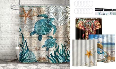 Waterproof Fabric Bathroom Hooks Scenery Kids Bathroom Shower Curtain