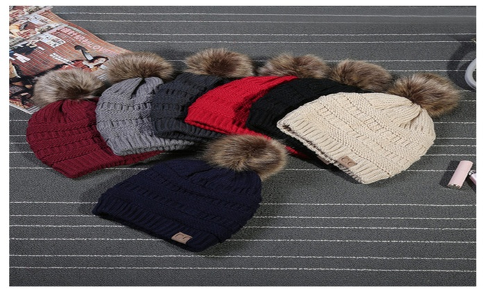 CC Beanie Hat with Fur Pom  7059b0655