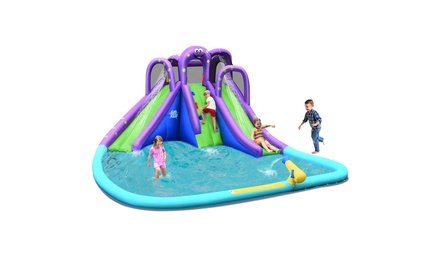 Costway Inflatable Water Park Octopus Bounce House 2 Slides Climbing Wall