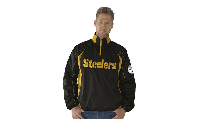 quality design 37926 266b6 GIII Pittsburgh Steelers Mens PRE GAME Quarter-Zip Pullover Jacket