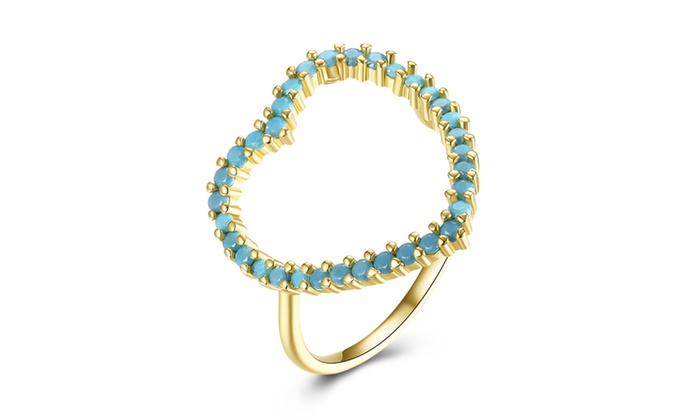 f on Turquoise Studded Heart Gold