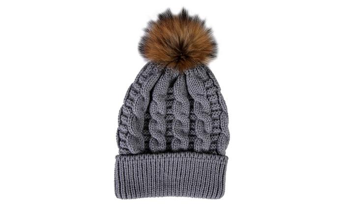 cc31fe0f2ea Womens Pom Pom Beanie Hat Winter Cable Knit Hat Warm Cap 3