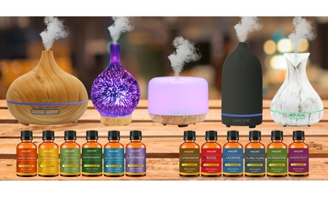 Ultrasonic Aromatherapy Oil Diffuser with Optional Essential Oils Set (7-Piece)
