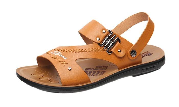 Men's Leather Ankle Strap Slip On Sandal