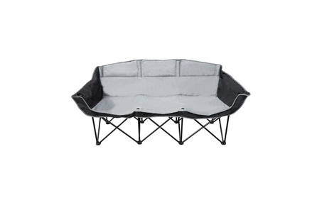 GoTEAM! 3 Seat Portable Folding Bench/Couch - Black/Gray 8746a1e7-8a1f-4ed7-b0e9-21728c6773b5