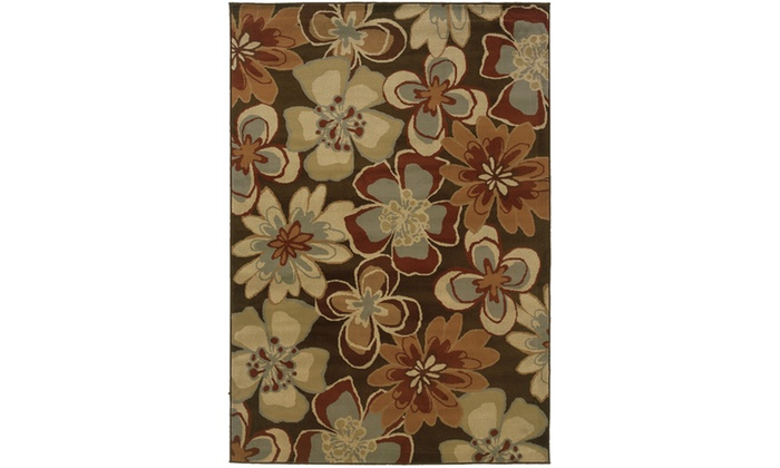 Monarch Avery Brown Gold Floral Area Rug Groupon