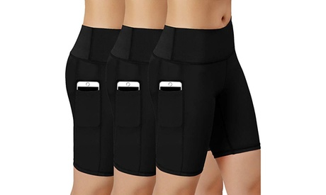 3 Pack Women's Sports Yoga Shorts Compression Shorts with Side Pocket