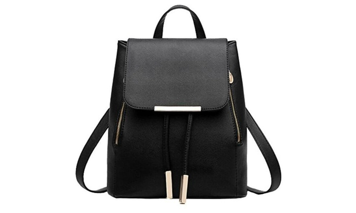 Broadmix Solid Color PU Leather Backpack Casual Schoolbag