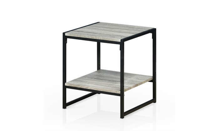 Furinno Modern 2 Tier End Table, Dark Oak