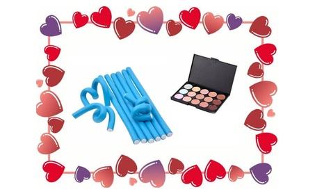 Navy Blue Hair Rollers Bigoudis & 15 Color Concealer Valentine Day Gift 117e14cb-ff08-4552-8d40-d551e56bdfca