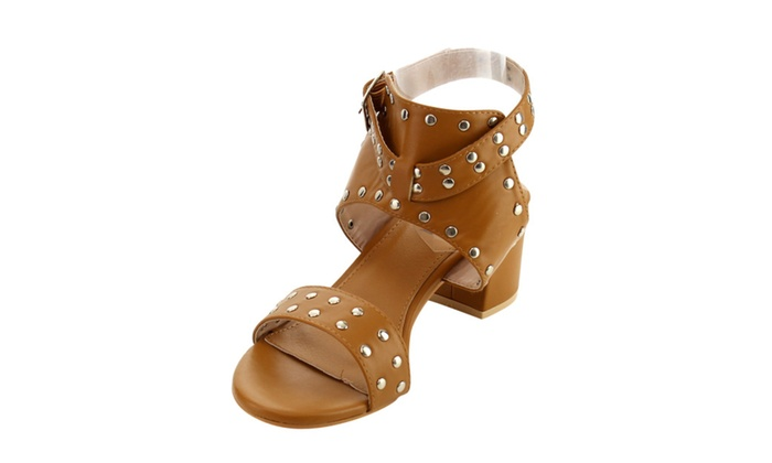Beston FJ57 women's block heel studded backless ankle strap sandals