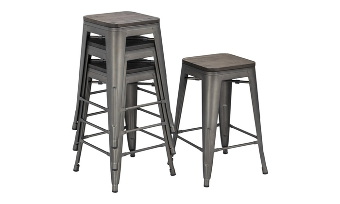 Superb Up To 34 Off On 24Inch Metal Bar Stools Count Groupon Ncnpc Chair Design For Home Ncnpcorg