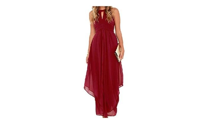 Clothink Women Burgundy Chiffon Halter High Waist Ruched Maxi Dress