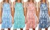 Women's Summer Loose Vest Tank Dress Ladies Casual Sleeveless Tie-Dye Dresses