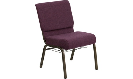 "HERCULES Series 21"" Extra Wide Dot Fabric Church Chair with Cup Book Rack 7397821f-f5a0-40a9-8555-a65abec315fb"