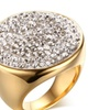 Stainless Steel Big Paved Crystal Statement Women's Ring