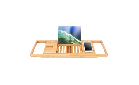 Bamboo Bathtub Tray Bath Caddy Adjustable Wood Handle Dining Wine Cup 916fae3c-b82d-42ab-ad19-465cfe296278