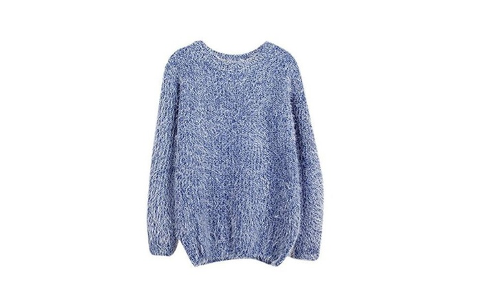 Ladies Women's Winter Crew Neck Soft Mohair Loose Pullover Sweater