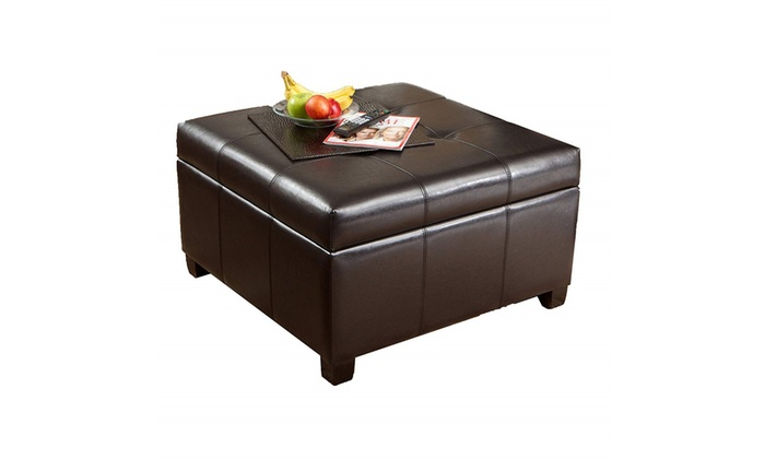 Best Ing Storage Ottoman Coffee Table Square Shaped Premium Bonded Leather