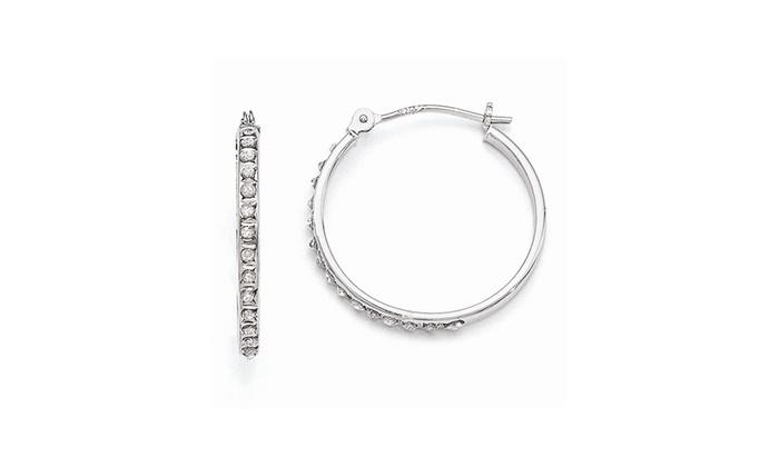14K Yellow Gold 2mm Diamond Cut Hoop Earrings Diameter - 20 MM