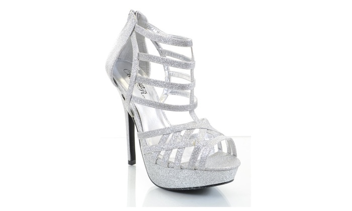 Glitter Silver Caged Strappy Open Toe Stiletto Party Sandal Heels  - 10