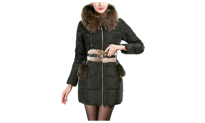 DPN Women's Winter Vintage Slim Fit Fur Hooded Down Coat